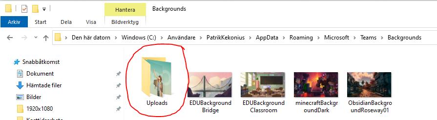Bilden illustrerar var man lägger till sina egna bakgrundsbilder i Microsoft Teams